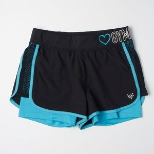 Justice Black & Blue Athletic Gymnast Shorts